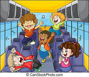 autobús, niños