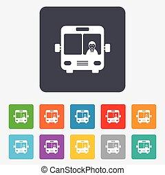 autobús, símbolo., señal, icon., transporte público