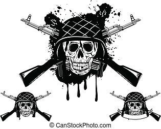 automático, cráneo, casco