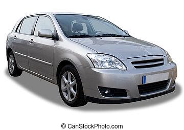 automóvil compacto, blanco, aislado, 4-door