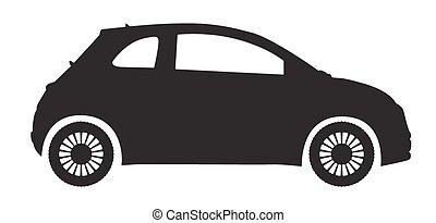 automóvil compacto, silueta