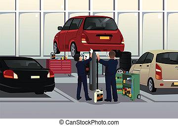 automóvil, debajo, fijación, mecánico, capilla del coche