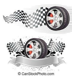 automóvil, elemento, carrera