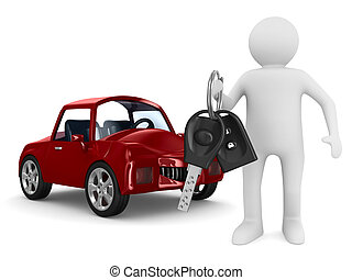 automóvil, imagen, aislado, keys., hombre, 3d
