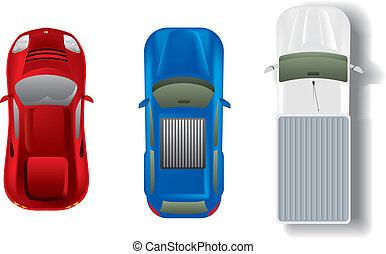 automóviles, cima, conjunto, diferente, vista
