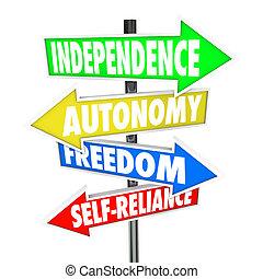 autonomía, libertad, flechas, señal, camino, self-reliance, independencia