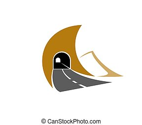 autopista, camino, icono, metro, túnel de autopista