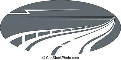 Autopista, camino o icono gris