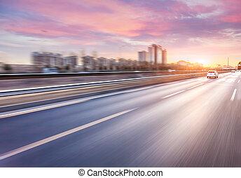 autopista, conducción, coche, mancha de movimiento, ocaso