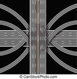 Autopista. El desenlace de los muchos caminos. La mejor vista. Ilustración de vectores
