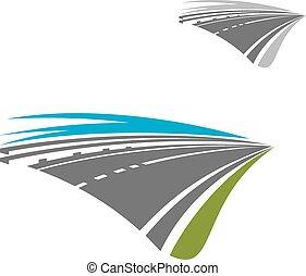 Autopista expreso con icono abstracto del cielo azul