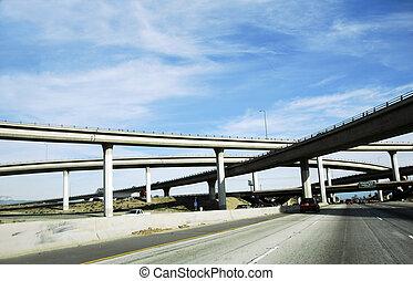 autopista, paso superior, américa, sistema