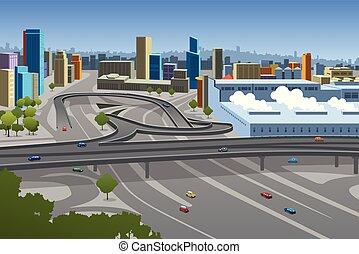 Autopista y coches en la ilustración de la ciudad