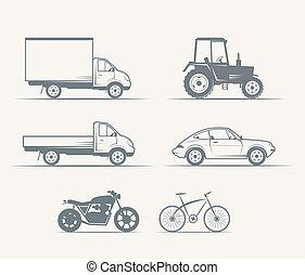 Autos, motocicletas, bicicletas a la antigua
