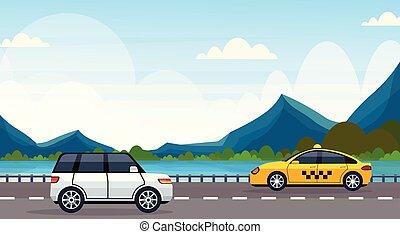 Autos que conducen carretera de asfalto cerca de las montañas del río montañas paisajes naturales horizontales planos