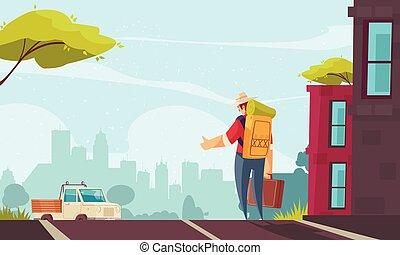 autostop, ilustración, caricatura