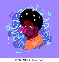 Avatar de las emociones masculinas de perfil, retrato de dibujos animados de hombre hipster feliz cara sonriente besos soplando