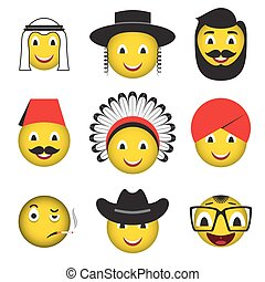 Avatar emoticonos emoticonos emoji iconos sonrientes.
