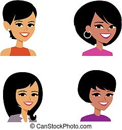 avatar, mujeres, caricatura, ilustración del retrato