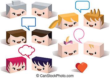avatares de la familia 3D, vector