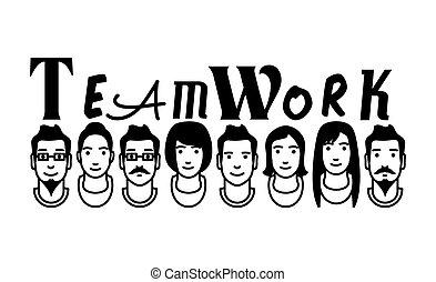 avatares de vectores de trabajo en equipo