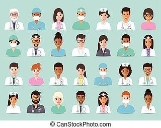 avatares del personal médico y hospital