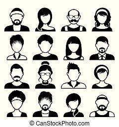 Avatares iconos masculinos y femeninos