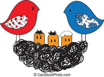 Ave y nido con polluelos