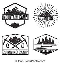aventura, campamento, vendimia, conjunto, etiquetas, montaña
