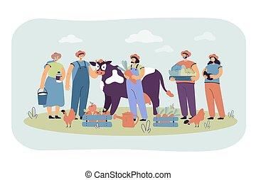 aves de corral, mantener, vaca, feliz, grupo, granjeros