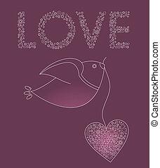 Avestrada con un corazón rosa