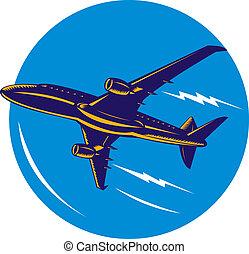 avión, ángulo, bajo, chorro