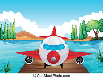 avión, aire, aterrizaje, naturaleza