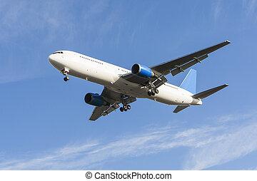 avión, airliner, aterrizaje