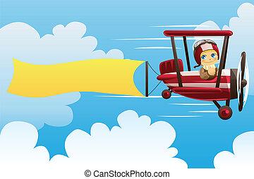 Avión cargando estandarte