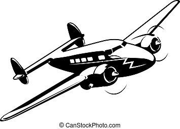avión, caricatura, retro
