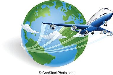 avión, concepto, globo