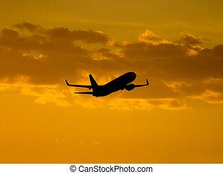 avión, despegue