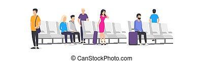 avión, gente, caricatura, esperar, aeropuerto