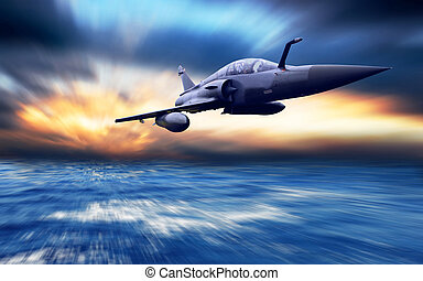 Avión militar a la velocidad