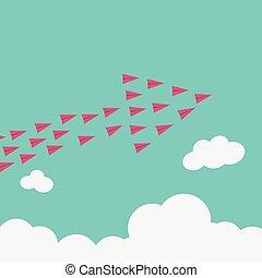 Avión rojo estilista volando alto. Visión por Crecimiento y Nueva idea, cambio, tendencia, coraje, solución creativa, innovación y concepto único.
