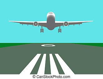 avión, vector, aterrizaje, ilustración