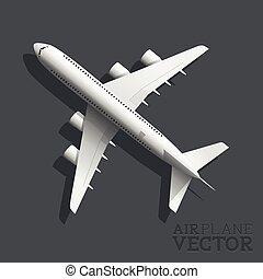 avión, vector, punta la vista