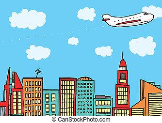 Avión volando sobre la ciudad