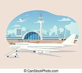 aviónes de pasajeros, vector, despegue, esperar, aeropuerto