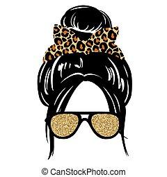 aviador femenino, pelo, anteojos, pañuelo, vector, hairstyle., o, headwrap, leopardo, mujer, print., desordenado, silhouette., bollo