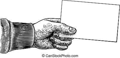 aviador, nota, señal, mano, empresa / negocio, marco, tarjeta, tenencia