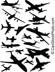 aviones, colección, siluetas