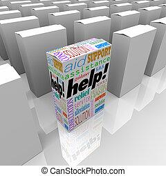 Ayuda a la caja de asistencia al cliente y apoyo en el estante de la tienda