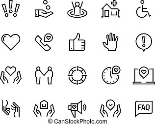 Ayuda a los iconos. Apoyo la atención sanitaria, guía de faq manual, donación de caridad para la vida familiar. Ayuda y apoyo